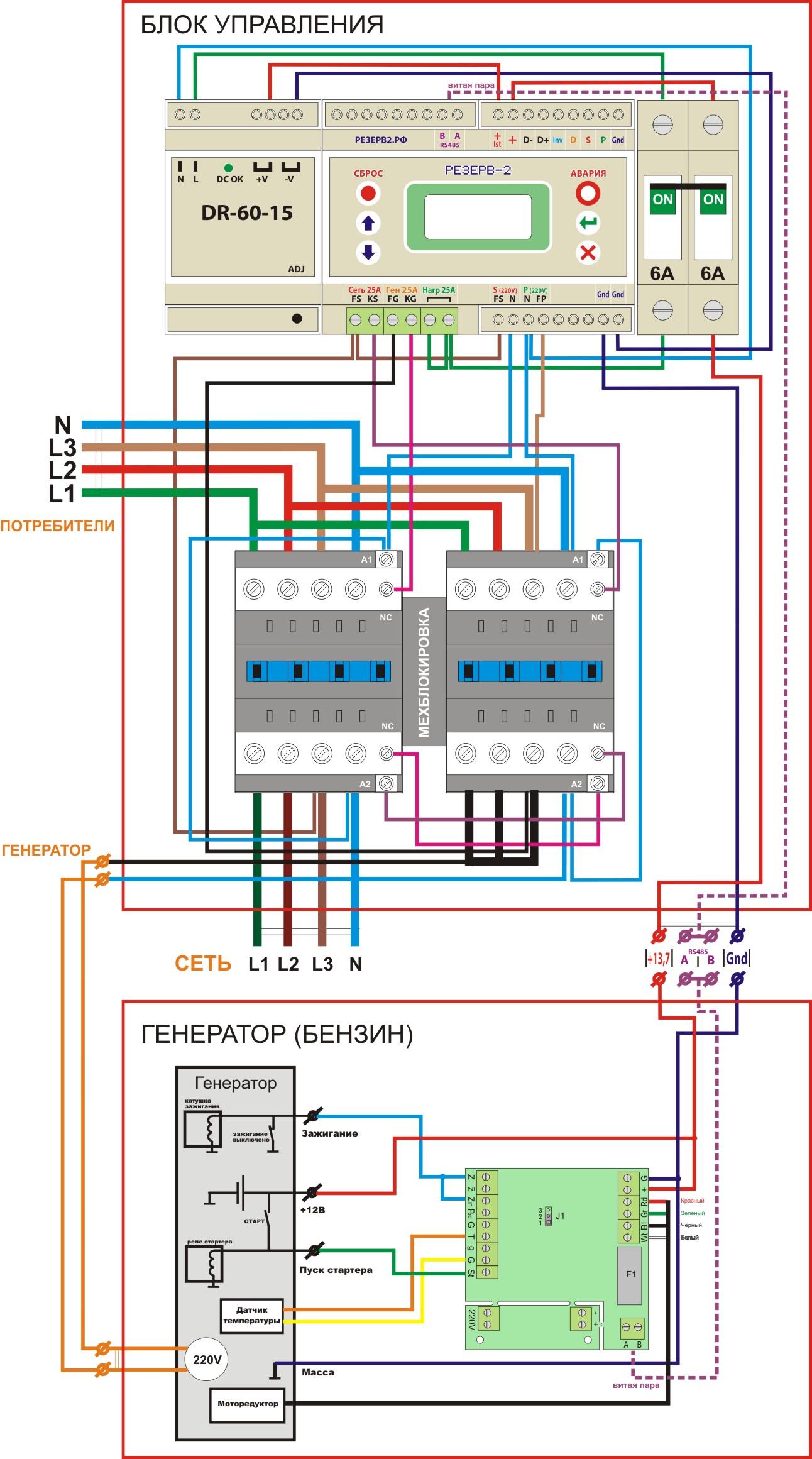 Схемы подключения 3-х фазных бензогенераторов5